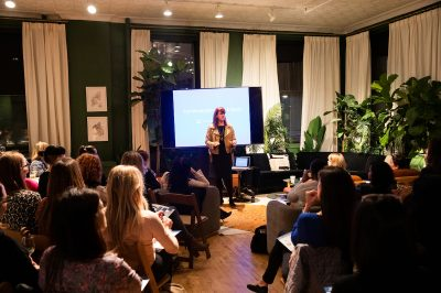 Jeanie Coomber Moderating the Discussion at a Chief Event in New York